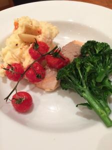 roasted salmon and tomato mash