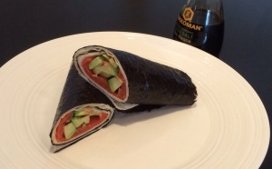 Seaweed and salmon sandwich