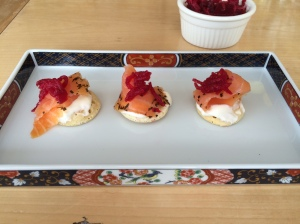 Blinis and smoked salmon