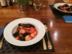Mussel prawn and scallop stew
