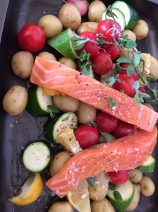 Roasted salmon and veg