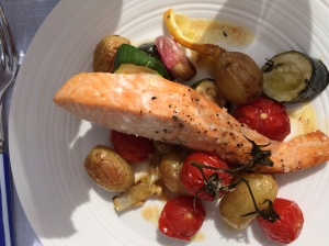 Roasted salmon and veg