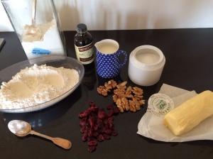 Cranberry and walnut scones