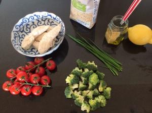 Chicken and quinoa salad ingredients