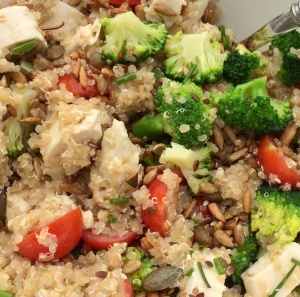 Quinoa and chicken and broccoli salad