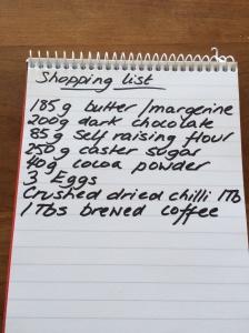 Chocolate brownie shopping list