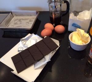 Chocolate brownie ingredients