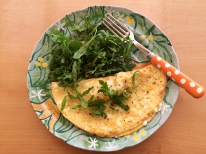 Wild garlic and goats cheese omelette