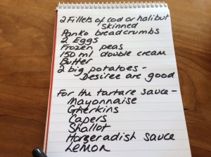Fish and chip shopping list