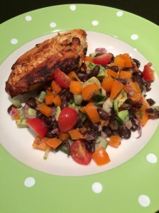 Buttermilk chicken and blackbean and avocado salad
