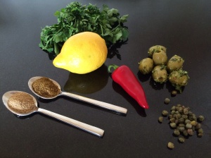 Caper and olive dressing
