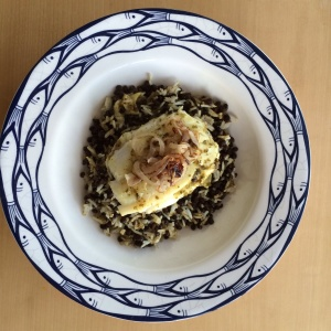 Lentil and rice salad with cod