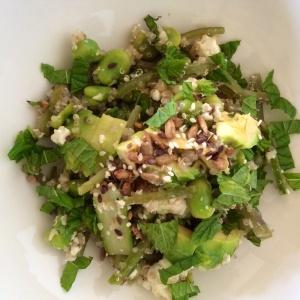 Quinoa and bright green veg