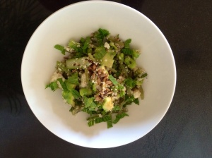 Quinoa and bright green veg