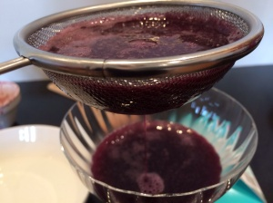 Strained blueberries