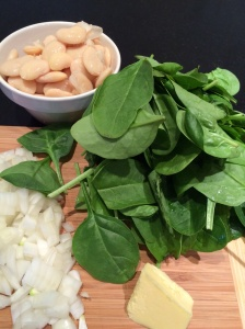 Spinach and butter bean soup ingredients