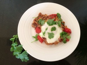 Poached egg with Harrissa mince
