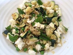 Courgette pea and mint salad