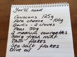Shopping list for courgette pea and mint salad