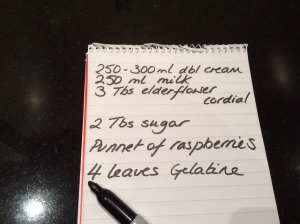 Shopping list pannacotta