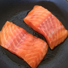 Mirin salmon frying