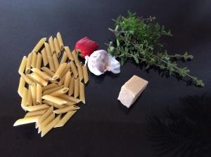Dried pasta garlic chilli thyme oregano parmesan