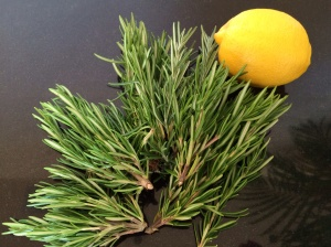 Fresh rosemary and lemon