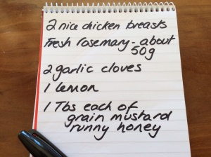Rosemary chicken shopping list