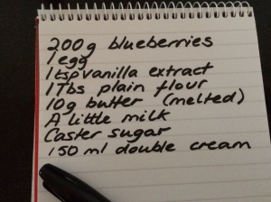 Shopping list for blueberry clafoutis