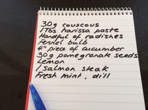 Shopping list for salmon couscous picnic bowls