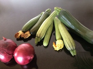 Courgettes and red onions
