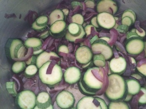 Stir fried courgettes and red onions