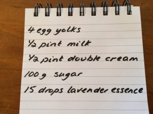 Lavender ice-cream ingredients
