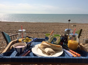 Picnic breakfast on the beach