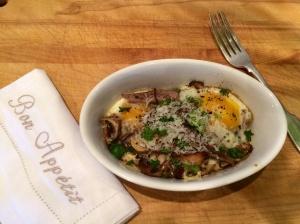 Mushroom and egg bake