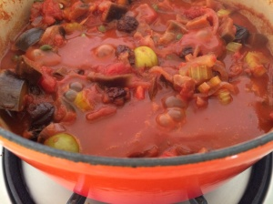 Caponata cooking