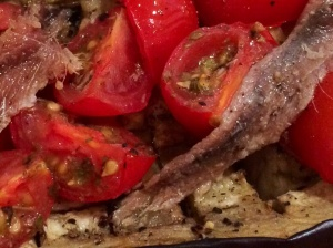 Aubergine tomato and anchovy