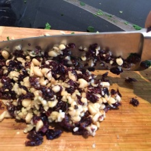 Chopped pinenuts and currants