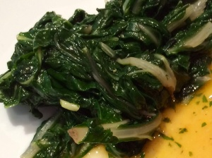Swiss chard leaves cooking