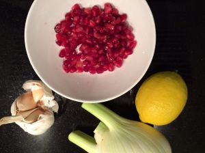 Pomegranate, fennel, garlic and lemon