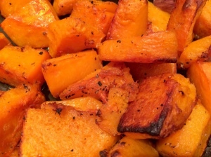 Roasted butternut squash pieces