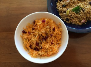Carrot and apple salad with pomegranate