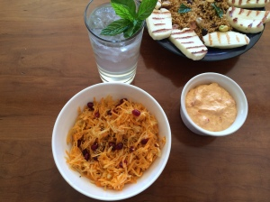 Carrot and apple salad with pomegranate and mezzes